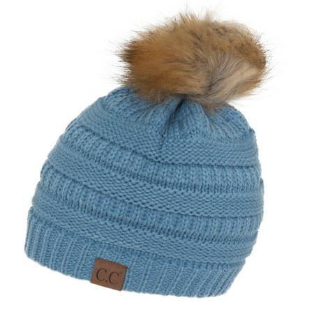 Gravity Threads CC Cable Knit Faux Fur Pom Pom Beanie Hat ... e919d5edf09
