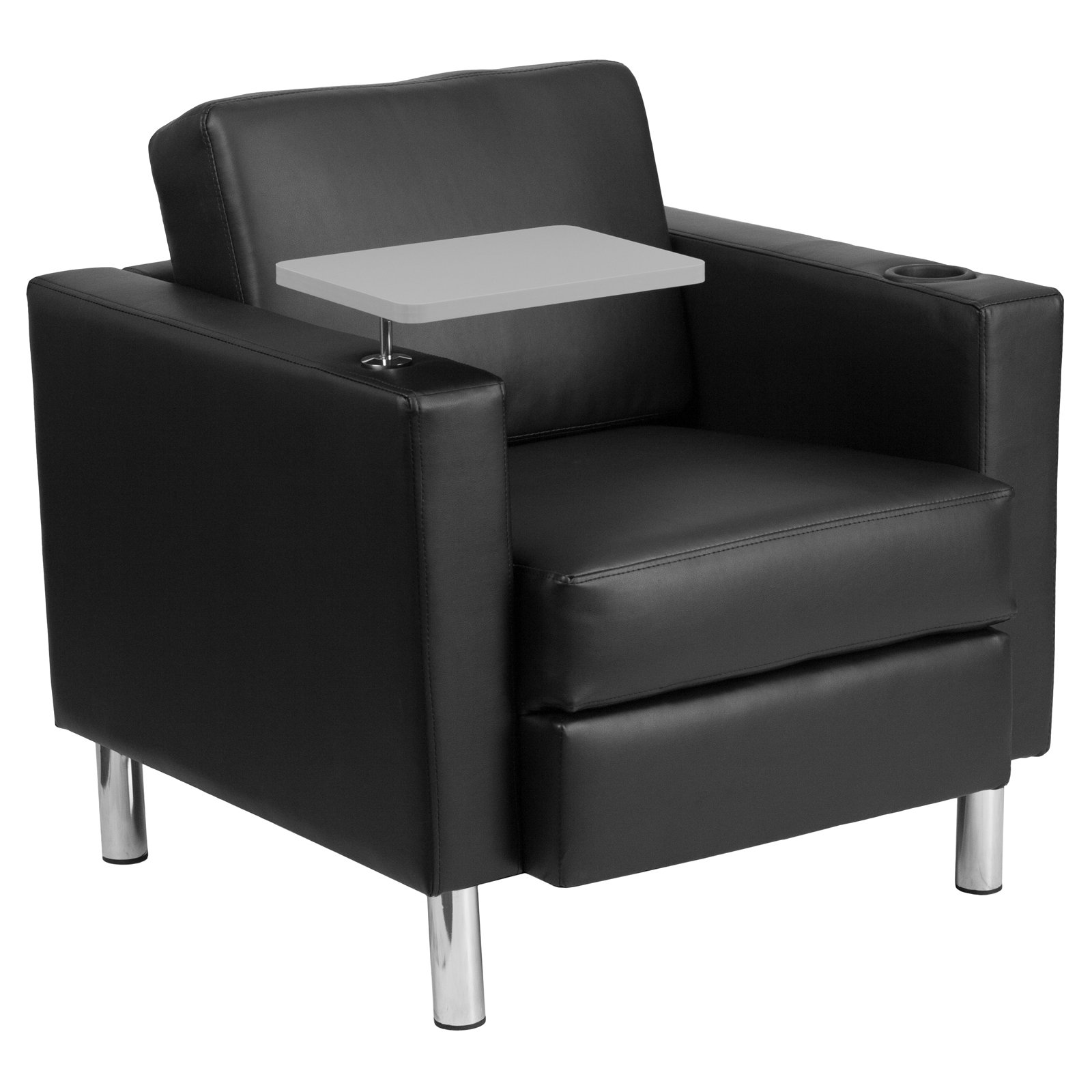 Flash Furniture Leather Guest Chair with Tablet Arm Tall Chrome Legs and Cup Holder