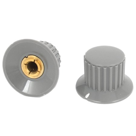 Unique Bargains 2 Pcs 6mm Dia Shaft Hole Dia Potentiometer Rotating Switch Knob Cover Gray