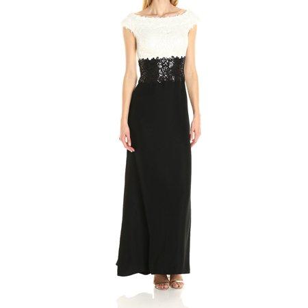 Tadashi Shoji NEW White Black Women's Size 4 Gown Lace Sequin (Tadashi Shoji Sequin Lace Gown Plus Size)