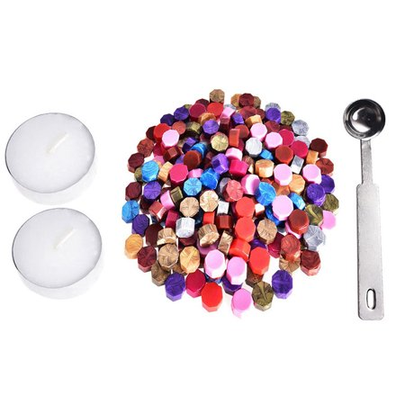 DZT1968 230 Pieces Octagon Wax Seal Beads Stamp Sealing Wax Beads Melting Spoon Kit MR