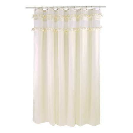 Waterproof Fabric White Tassel Shower Curtain And Hooks Set 72 X