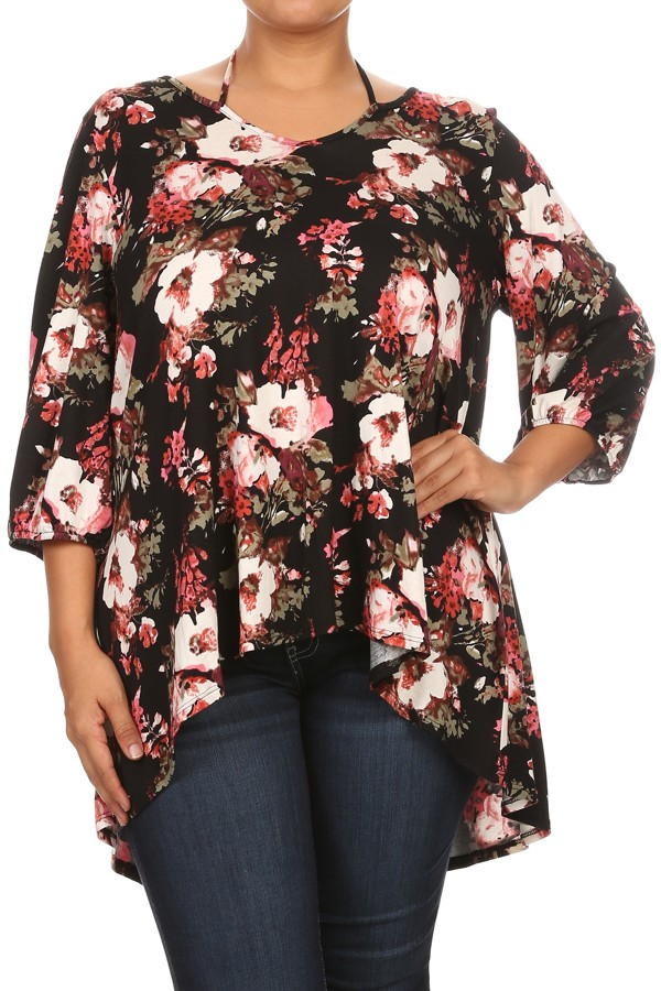 Women's PLUS trendy style  3/4 sleeve print tunic top.