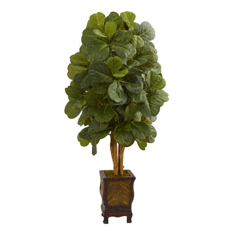 - Nearly Natural 4.5 ft. Fiddle Leaf Artificial Tree in Decorative Planter