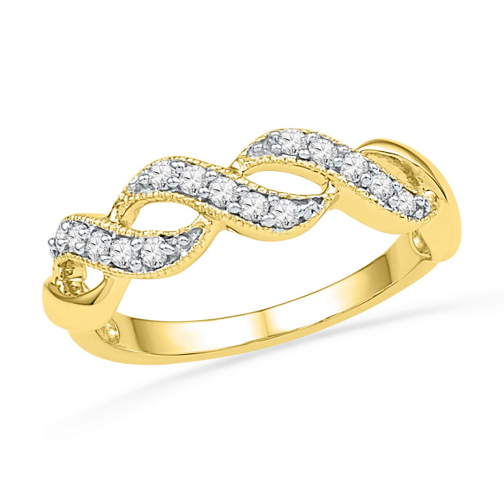 10kt Yellow Gold Womens Round Natural Diamond Crossover Band Fashion Ring (.20 cttw.) size- 10