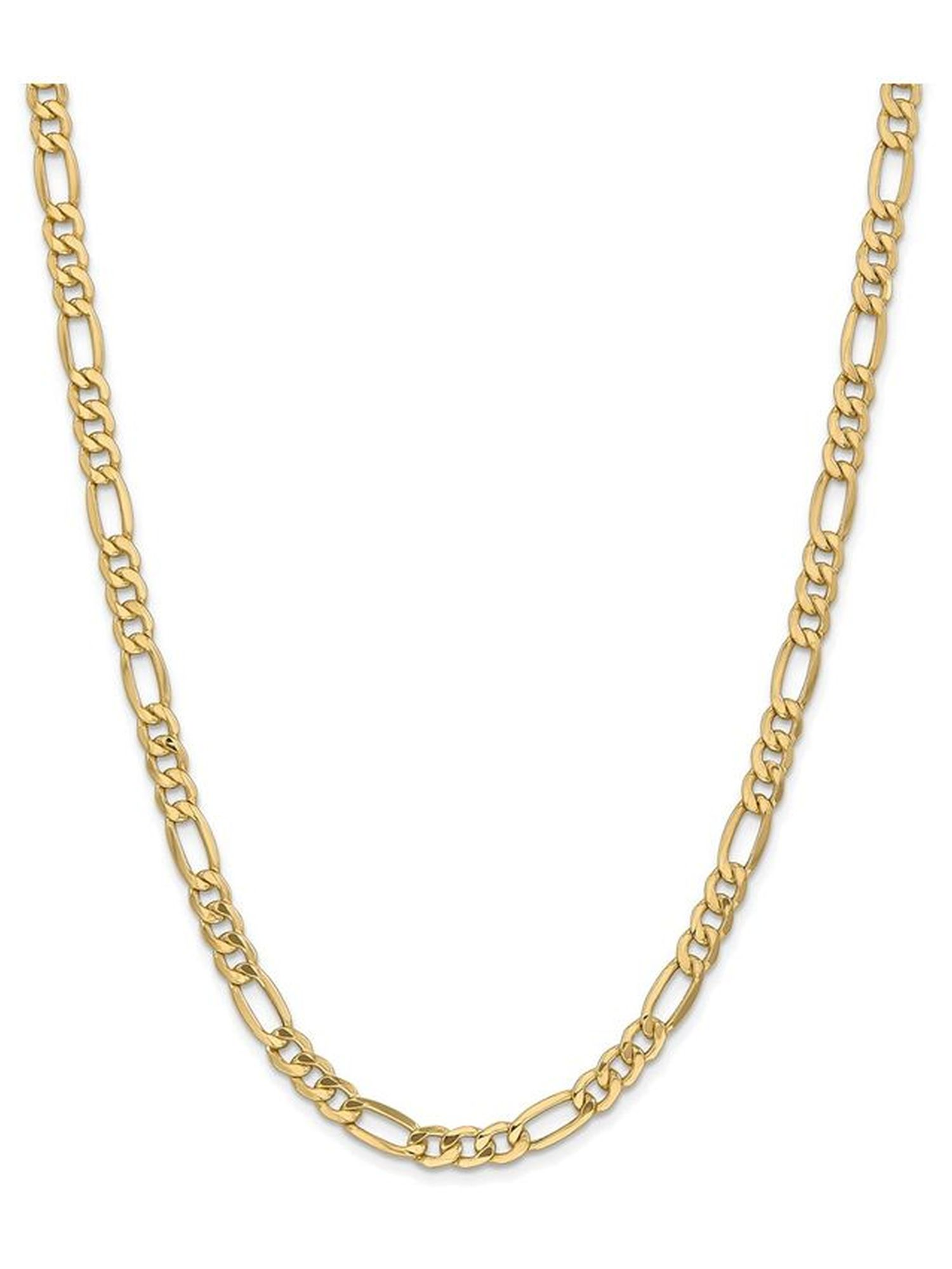 Brilliant Bijou 14k Yellow Gold 6.6mm Semi-Solid Figaro Chain Necklace 7 inches