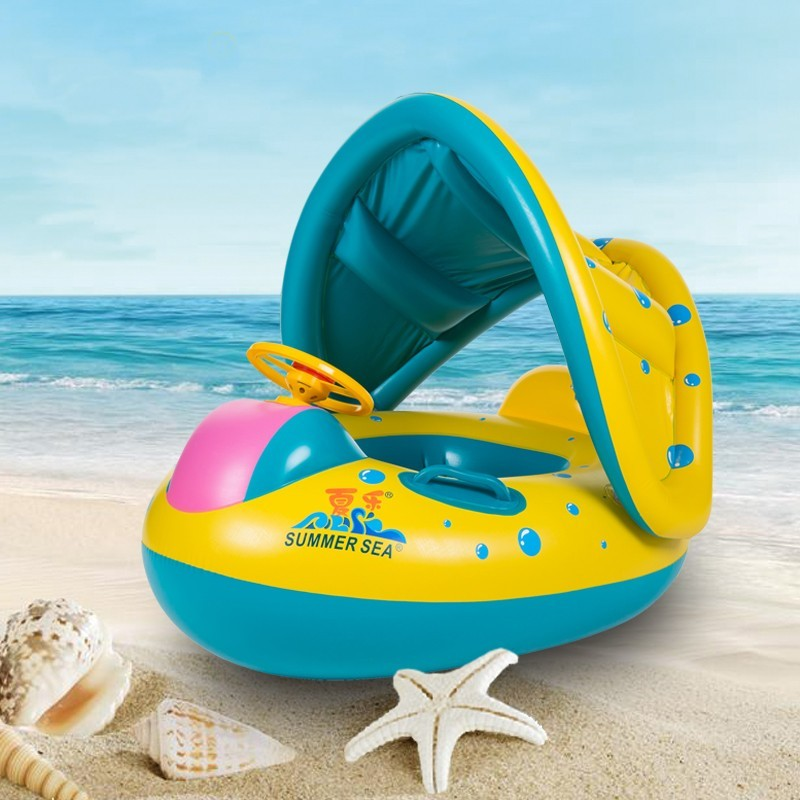 Baby Float Seat Boat Inflatable Adjustable Sunshade Swim Ring Pool Water Toys