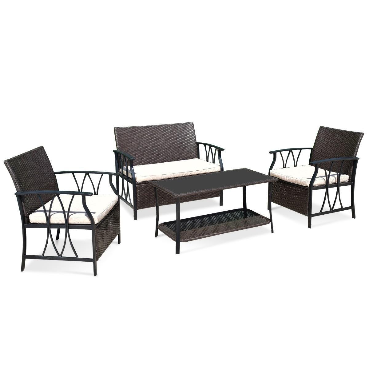 4 pcs Outdoor Wicker Furniture Set w  PE Cushion by