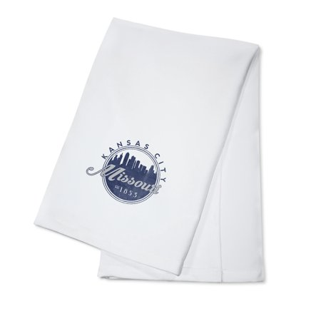 Kansas City, Missouri - Skyline Seal (Blue) - Lantern Press Artwork (100% Cotton Kitchen Towel)