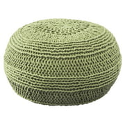 Solid Round Pouf in Lime