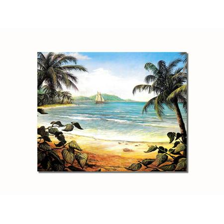 Tropical Beach One Ship Ocean Wall Picture 8x10 Art Print