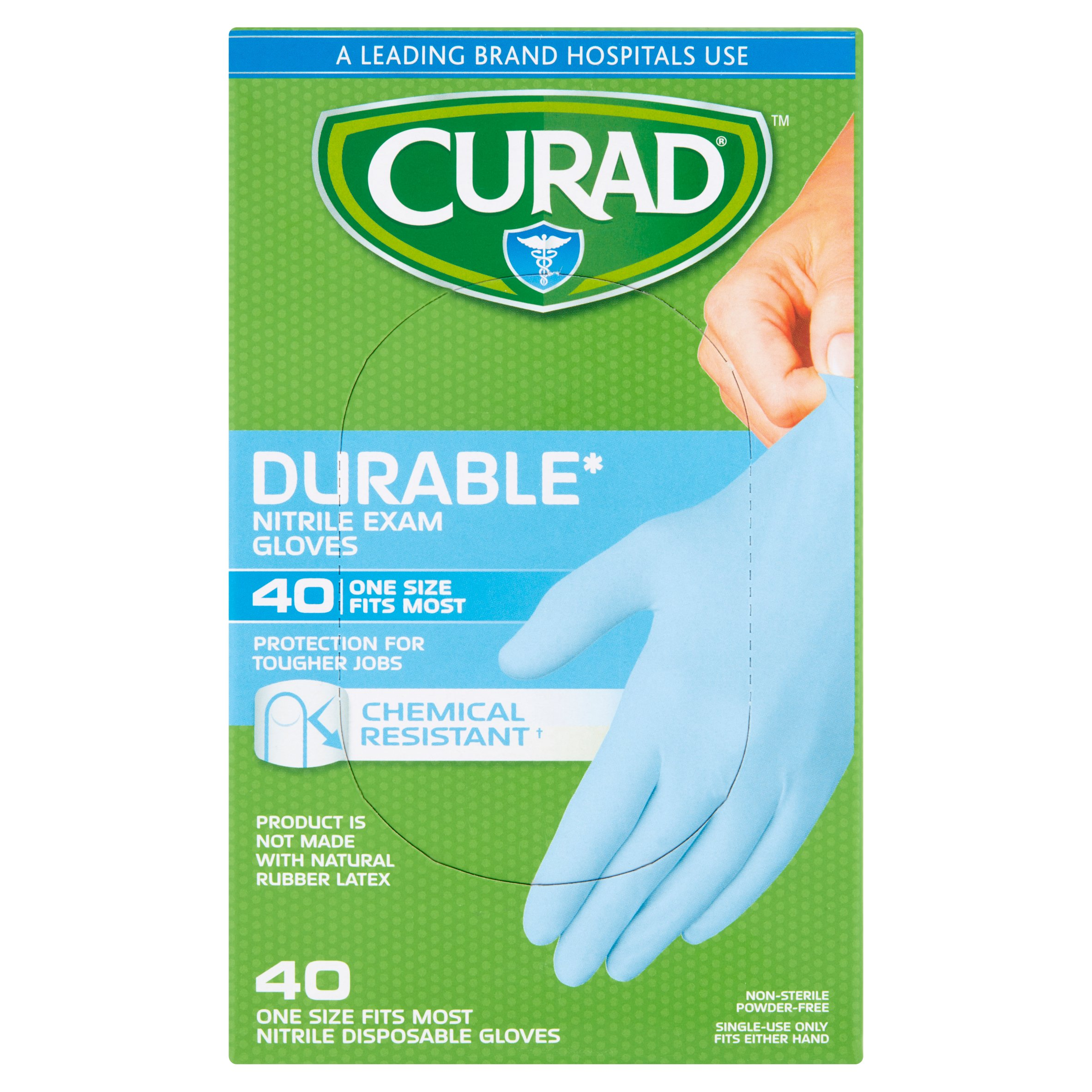 Curad Nitrile Disposable Exam Gloves OSFM, 40 count