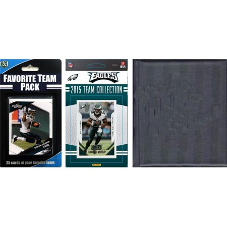 C&I Collectables NFL Philadelphia Eagles Licensed 2015 Score Team Set and Favorite Player Trading Card Pack Plus Storage Album