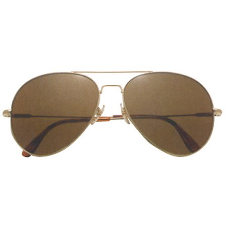 AO General Sunglasses Gold Frame with Wire Spatula Temples and True Color Gray Glass (True Religion Glasses Frames)