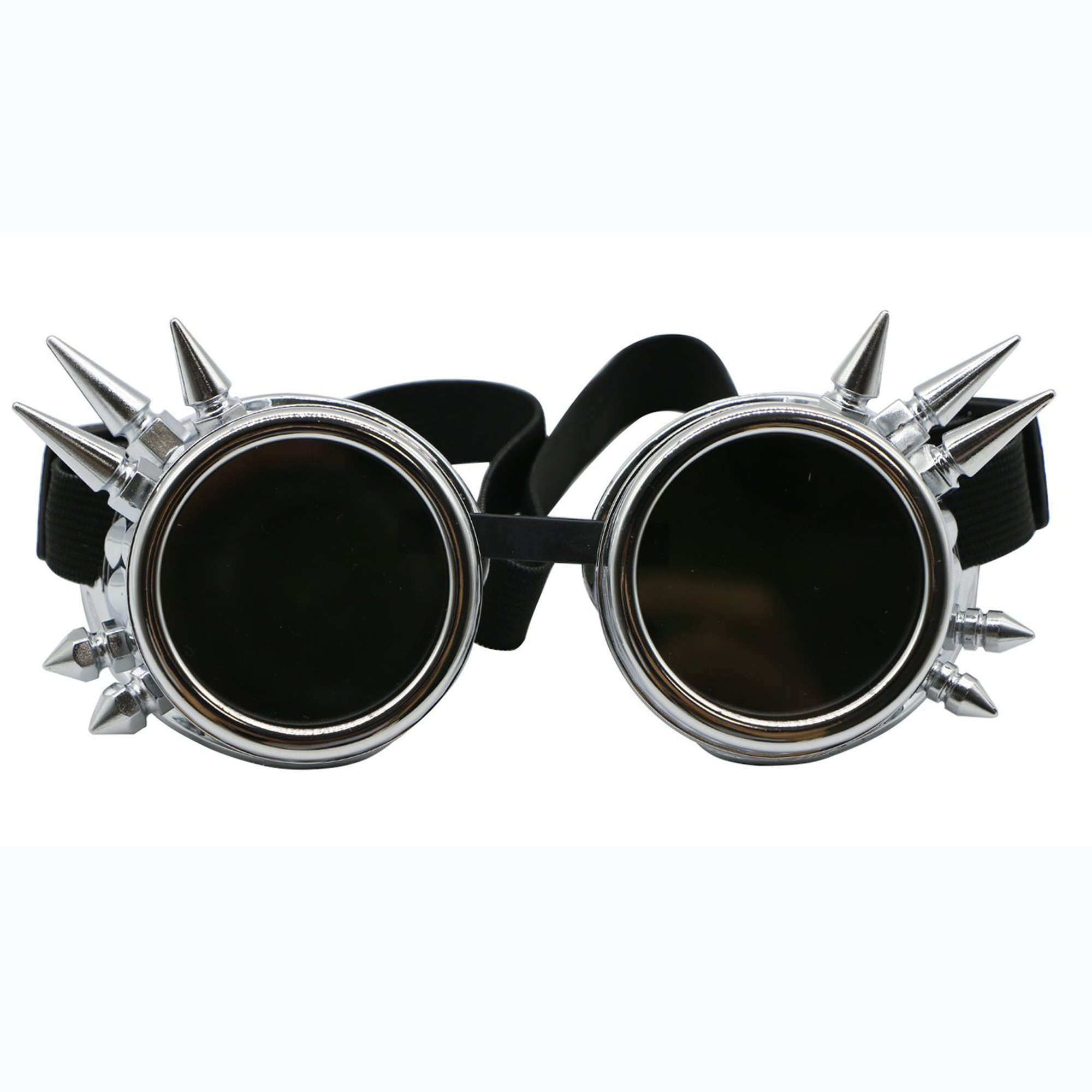 C.F.GOGGLE Vintage Studs Steampunk Goggles Welding Gothic Black Lens Cosplay