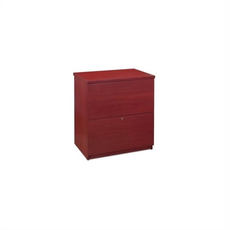 Bestar 2 Drawer Lateral Wood Lockable Filing Cabinet, Red by Bestar