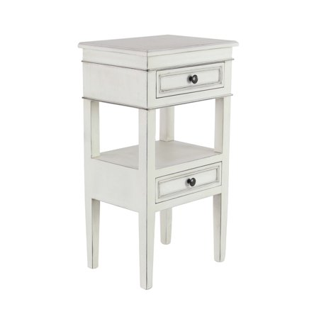 Leather Traditional Table - Decmode Traditional Wooden 2-Drawer White Side Table, White