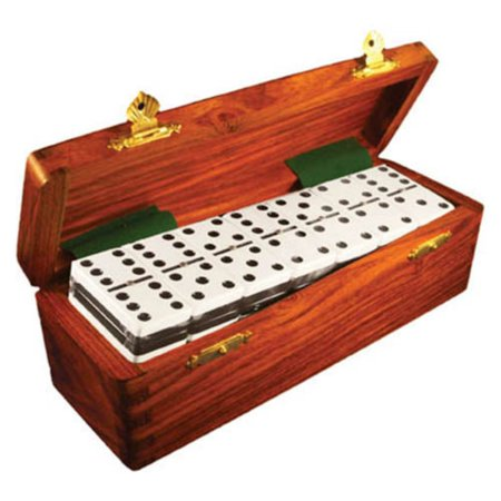 Marion Two Tone Double 6 Dominoes In Wood Case