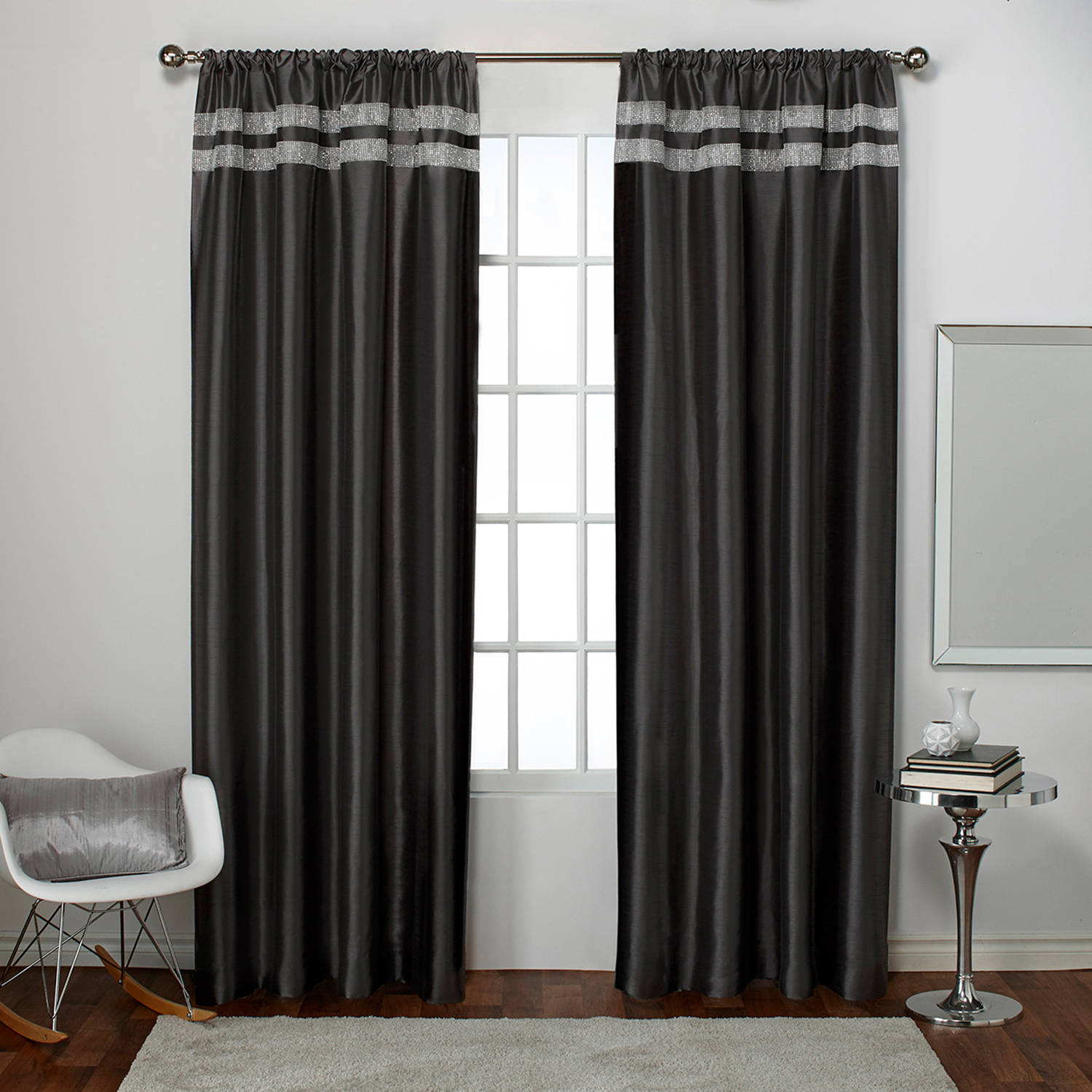 Exclusive Home Glitz Window Curtain Panel Pair with Rod Pocket