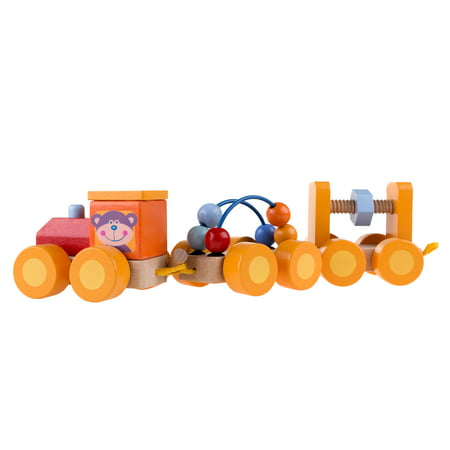 Classic Wooden Toy, Interactive Learning Train Set with Bead Maze and Screw Block Train Cars for Boys and Girls, Toddlers by Hey! Play!