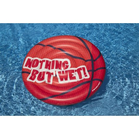 """Swimline 60"""" Inflatable Basketball Island """"NOTHING BUT WET"""" Lounge Pool Float Ages 4 and Up - Red/White (Basket Lounge)"""