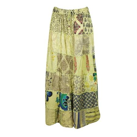 6c2abd224 Mogul Interior - Mogul Women's Patchwork Vintage Long Skirt Rayon Indian  Dori Maxi Skirts - Walmart.com