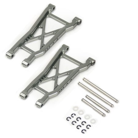 Alloy Hop Up Rear Lower Arm for Traxxas Nitro Rustler RC Stadium Truck, Grey, Replaces Traxxas Part 2555 by Atomik RC