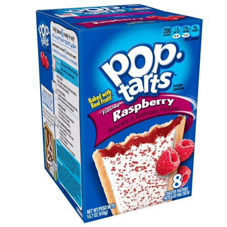 (4 Pack) Kellogg's Pop-Tarts Breakfast Toaster Pastries, Frosted Raspberry Flavored, 14.7 oz 8