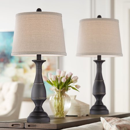 Regency Hill Traditional Table Lamps Set of 2 Dark Bronze Metal Beige Linen  Drum Shade for Living Room Family Bedroom Bedside