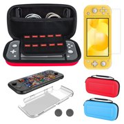 Travel Carry Case Pouch Storage Bag Fit for Nintendo Switch Lite & Accessories, TSV Portable Carrying Case Bag 5 in 1 Accessories Set w/ 10 Games Cards Slots Holder Protective Hard Shell Carrying Case
