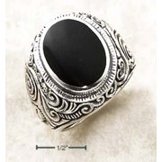 Sterling Silver Mens Bezel Set Simulated Onyx Ring Tapered Floral Ring - Ring Size: 09 to 15