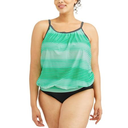 fb5fb6e869 Free Tech - Women's Plus-Size Sporty Swim Blouson Tankini Top With ...