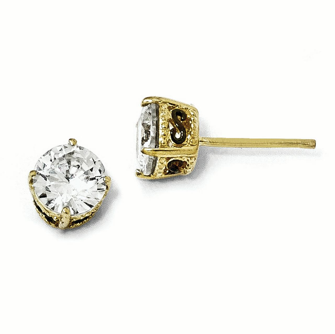Cheryl M Sterling Silver Gold-plated & Black-plated 6.5mm CZ Stud Earrings