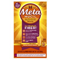 Metamucil Multi-Health Psyllium Fiber Supplement Powder with Real Sugar, Orange Flavored, 30 packets