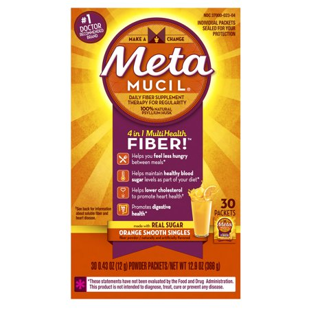 - Metamucil Multi-Health Psyllium Fiber Supplement Powder with Real Sugar, Orange Flavored, 30 packets