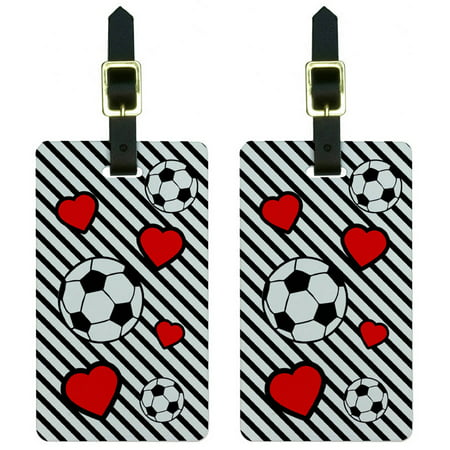 Soccer Love Luggage Tags Suitcase Carry-On ID, Set of 2