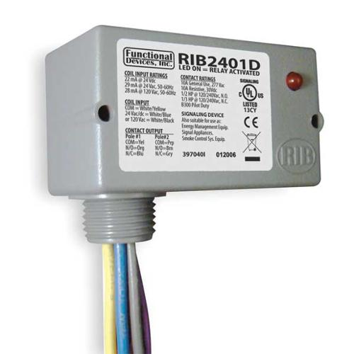 FUNCTIONAL DEVICES INC / RIB RIB2401D Enclosed Pre-Wired Relay, DPDT, 10A@30VDC