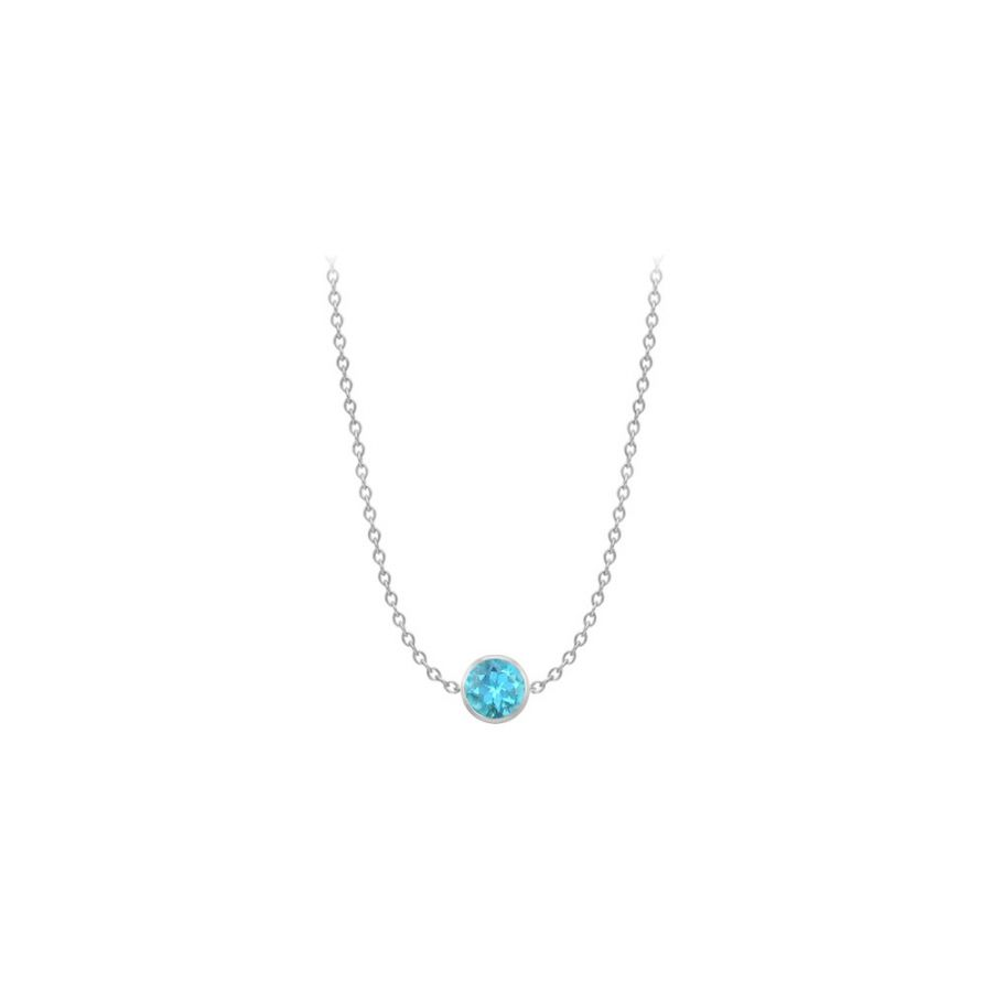 LoveBrightJewelry 14K White Gold full Yard Blue Topaz Necklace with One Carat TGW by Love Bright