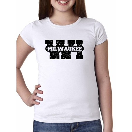 Milwaukee, Wisconsin WI Classic City State Sign Girl's Cotton Youth T-Shirt (Party City Milwaukee Wi)