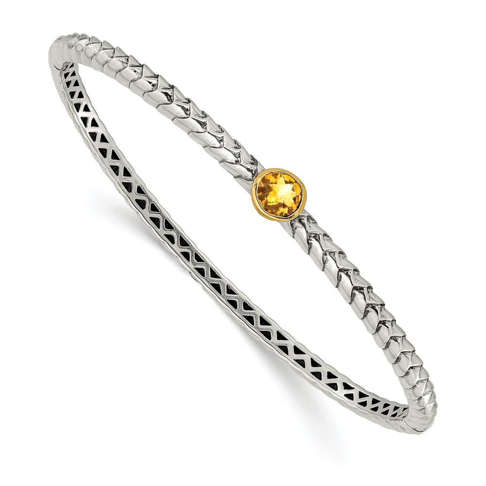 14K Gold and 925 Sterling Silver with 6mm Citrine Hinged Bangle Bracelet (7mm) by