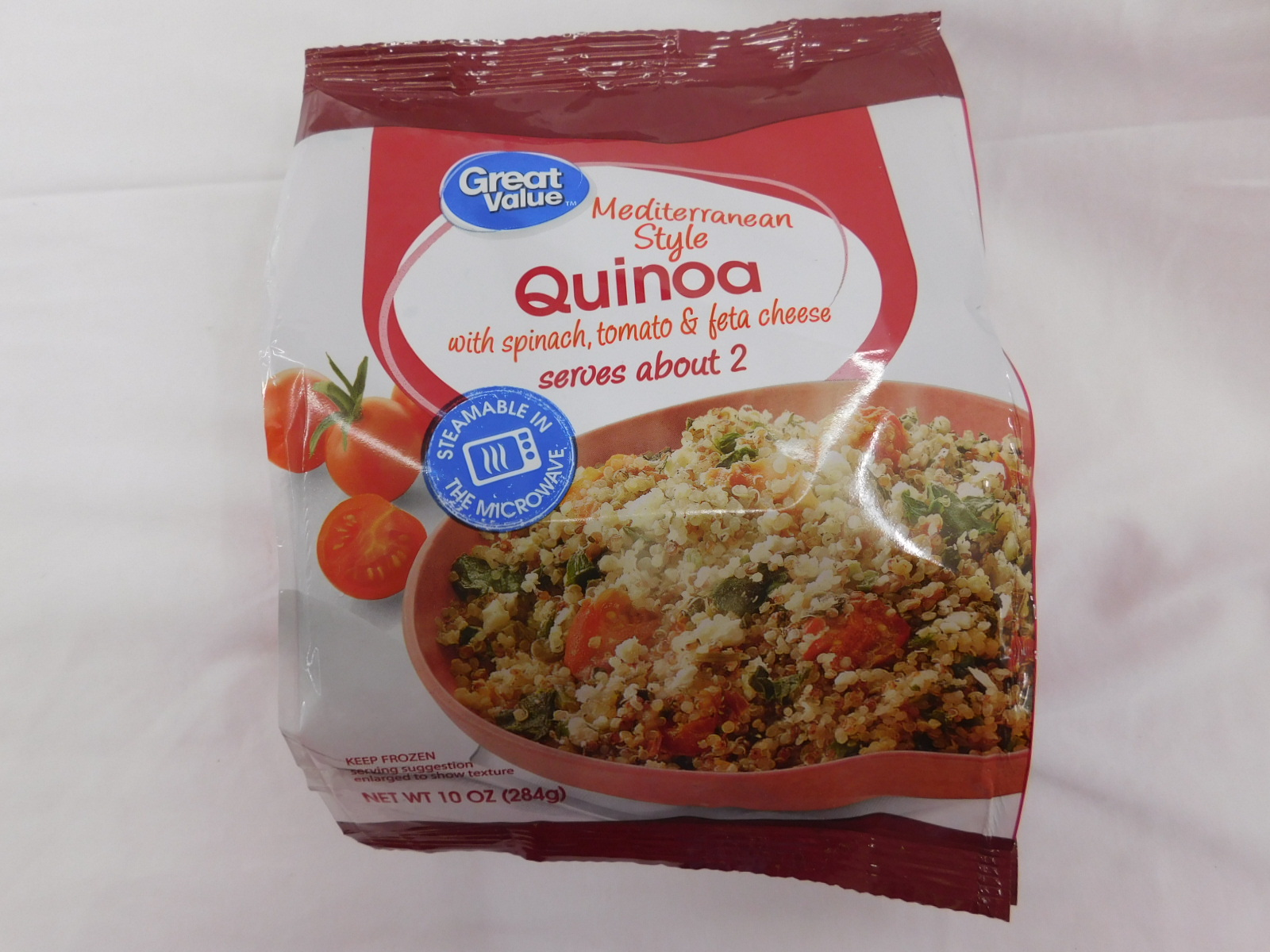 Great Value Mediterran Style Quinao With Spinach Tomato Feta Cheese.
