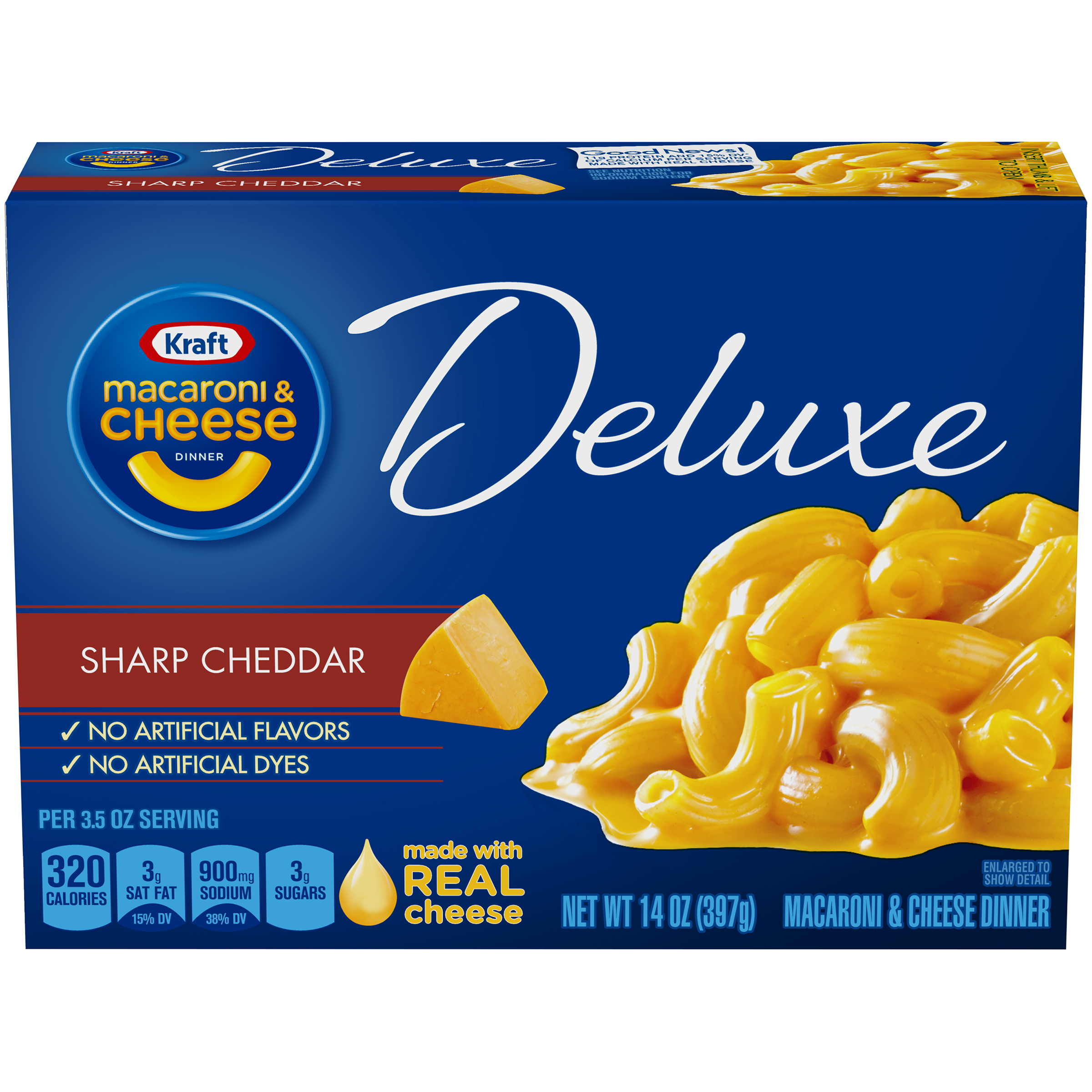 Kraft Macaroni & Cheese Dinner Deluxe Original Cheddar, 14 oz Box