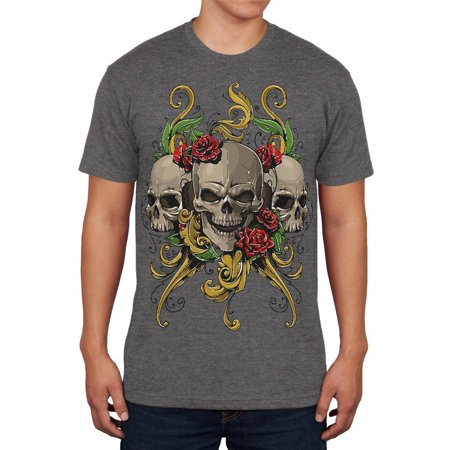 Skulls and Roses Tattoo Mens Soft T Shirt