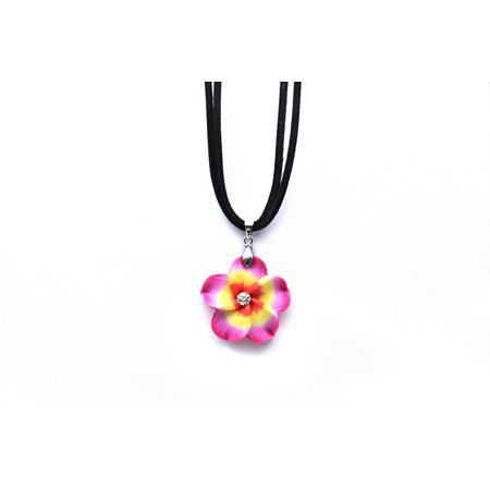 HAWAII LUAU PARTY DANCE FIMO HIBISCUS FLORAL CZ NECKLACE in Pink with Yellow Heart