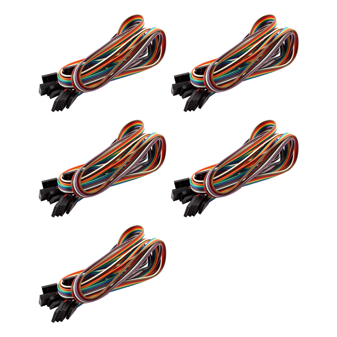50cm Length 8mm Width 6 Pin Female to Female Jumper Wire Cable Multicolor 5pcs