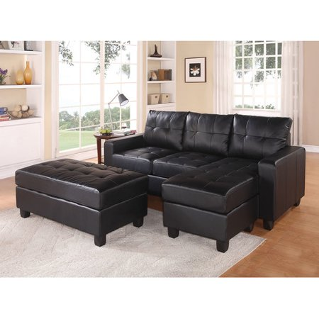 Acme Lyssa Reversible Chaise Sectional and Ottoman, Bonded Leather Match, Multiple