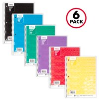 Mead Fashion Notebook, 1 Subject, College Ruled, 90 Sheets, Assorted Designs, 6 Pack (38199)