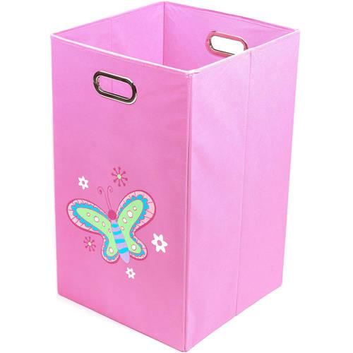 Nuby Butterfly Folding Laundry Bin, Light Pink
