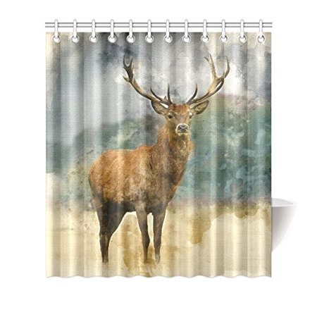 Mkhert Vintage Deer In Autumn Fall Forest Waterproof Shower Curtain Decor Animal Tree Fabric Bathroom Set 66x72 Inch