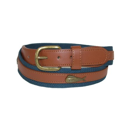 Men's Fabric Belt with Ribbon Overlay and Fish (Wrangler Concho Belt)